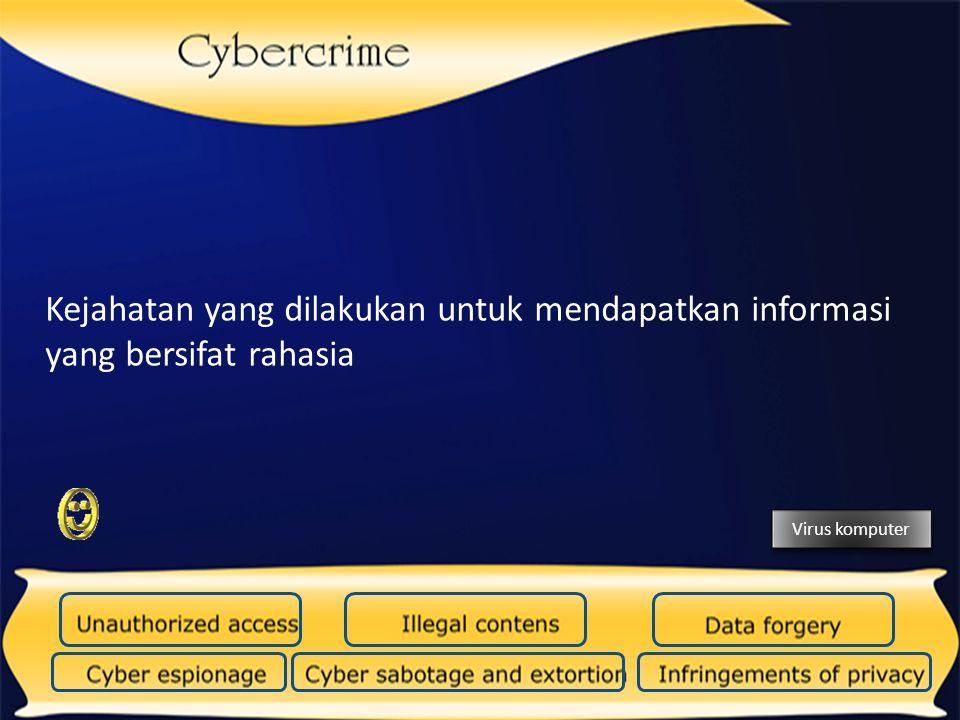 Kejahatan yang dilakukan untuk mendapatkan informasi yang bersifat rahasia