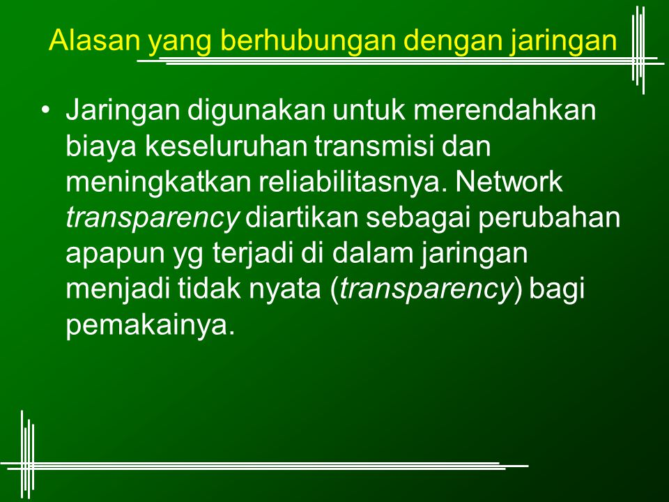 Alasan yang berhubungan dengan jaringan