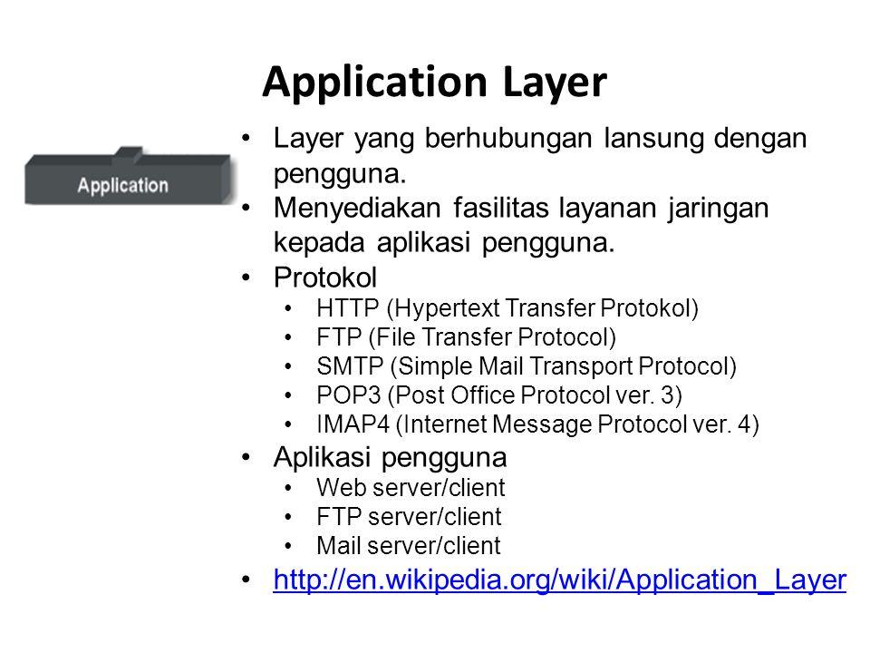Application Layer Layer yang berhubungan lansung dengan pengguna.