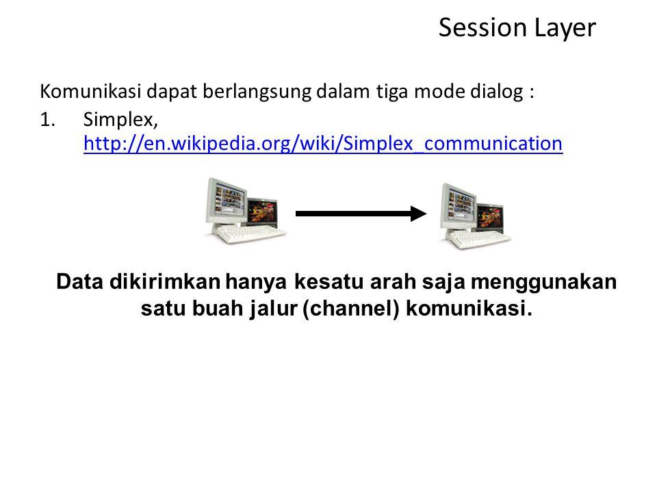 Session Layer Komunikasi dapat berlangsung dalam tiga mode dialog :