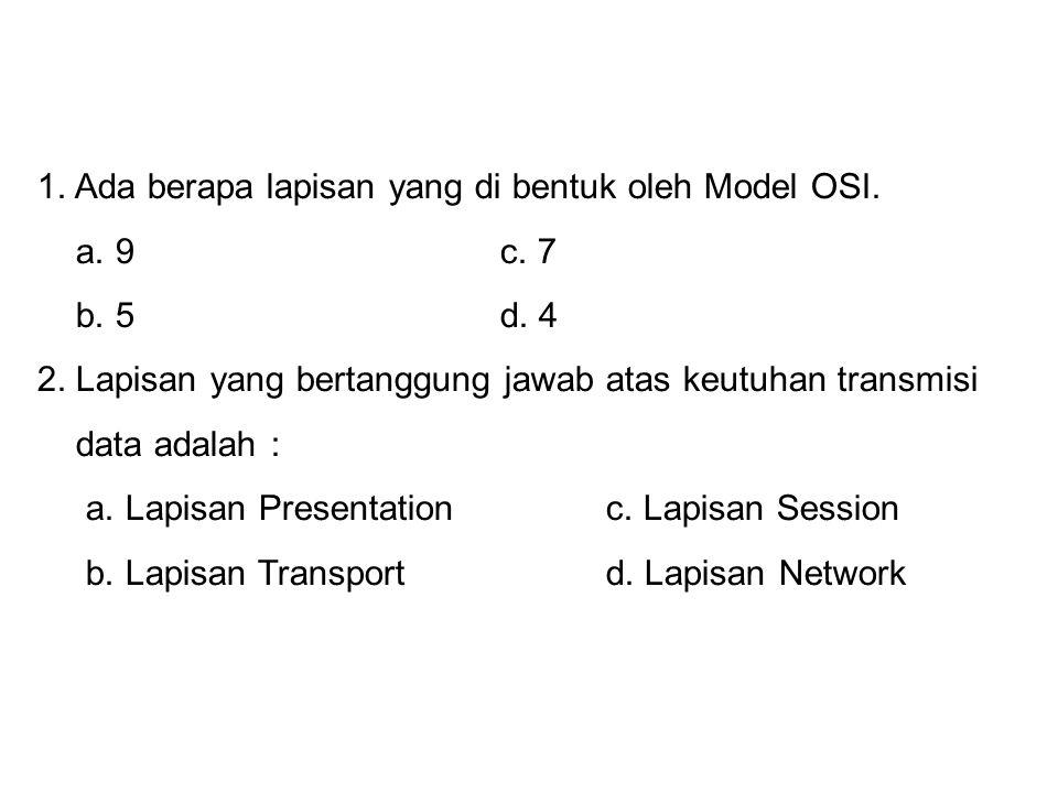 1. Ada berapa lapisan yang di bentuk oleh Model OSI.