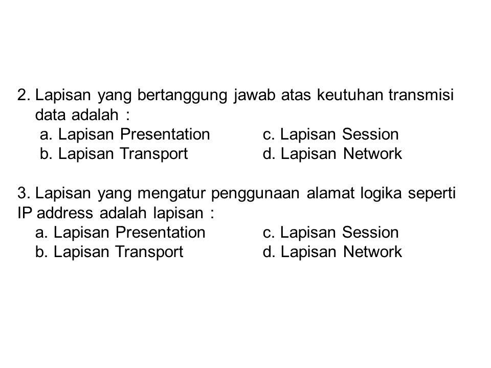 2. Lapisan yang bertanggung jawab atas keutuhan transmisi