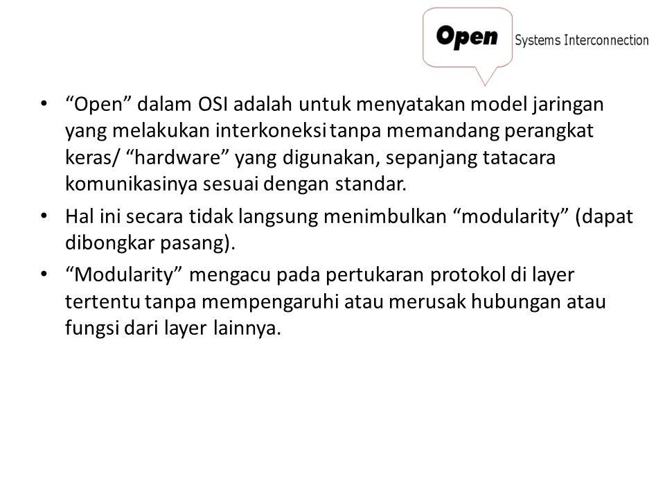 Open dalam OSI adalah untuk menyatakan model jaringan yang melakukan interkoneksi tanpa memandang perangkat keras/ hardware yang digunakan, sepanjang tatacara komunikasinya sesuai dengan standar.