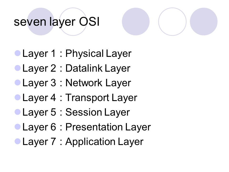 seven layer OSI Layer 1 : Physical Layer Layer 2 : Datalink Layer