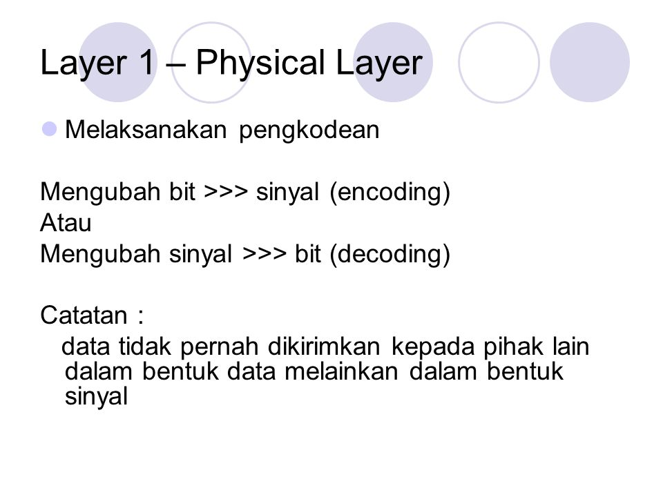Layer 1 – Physical Layer Melaksanakan pengkodean