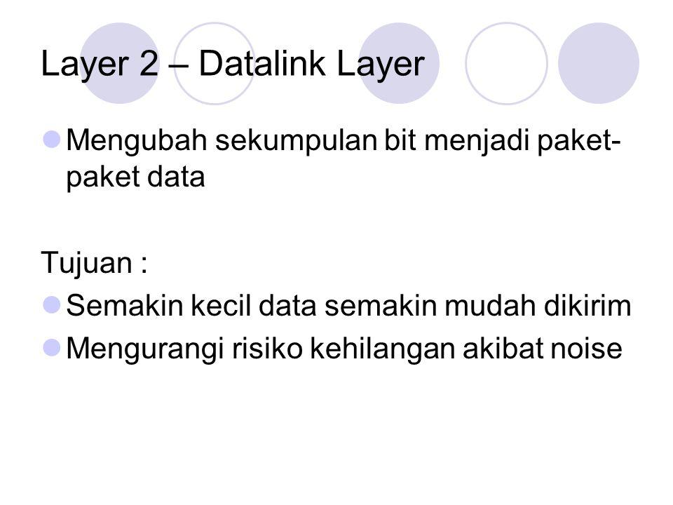 Layer 2 – Datalink Layer Mengubah sekumpulan bit menjadi paket-paket data. Tujuan : Semakin kecil data semakin mudah dikirim.