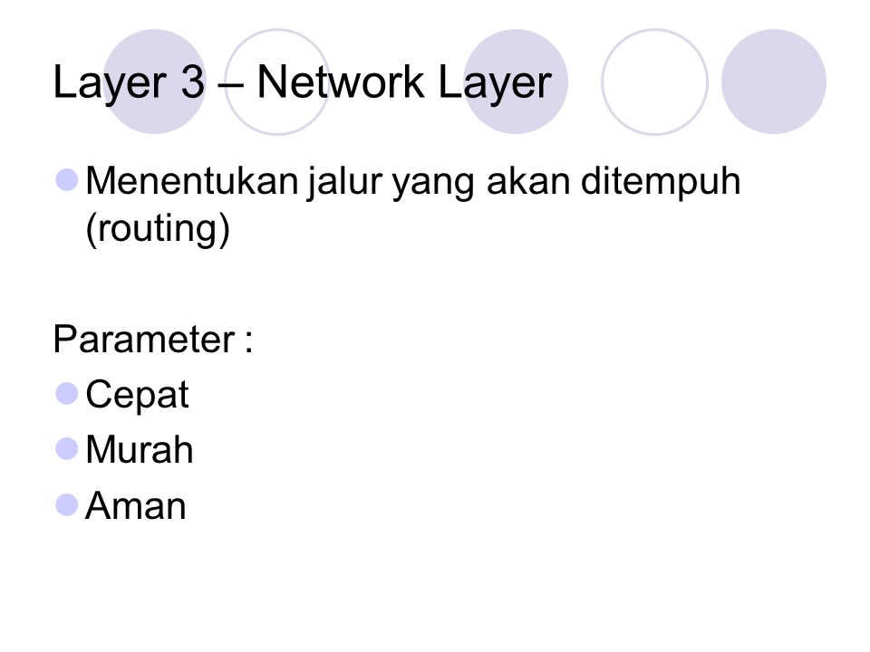 Layer 3 – Network Layer Menentukan jalur yang akan ditempuh (routing)