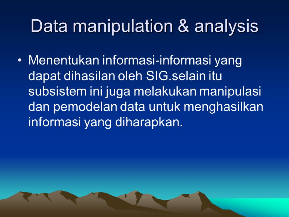 Data manipulation & analysis