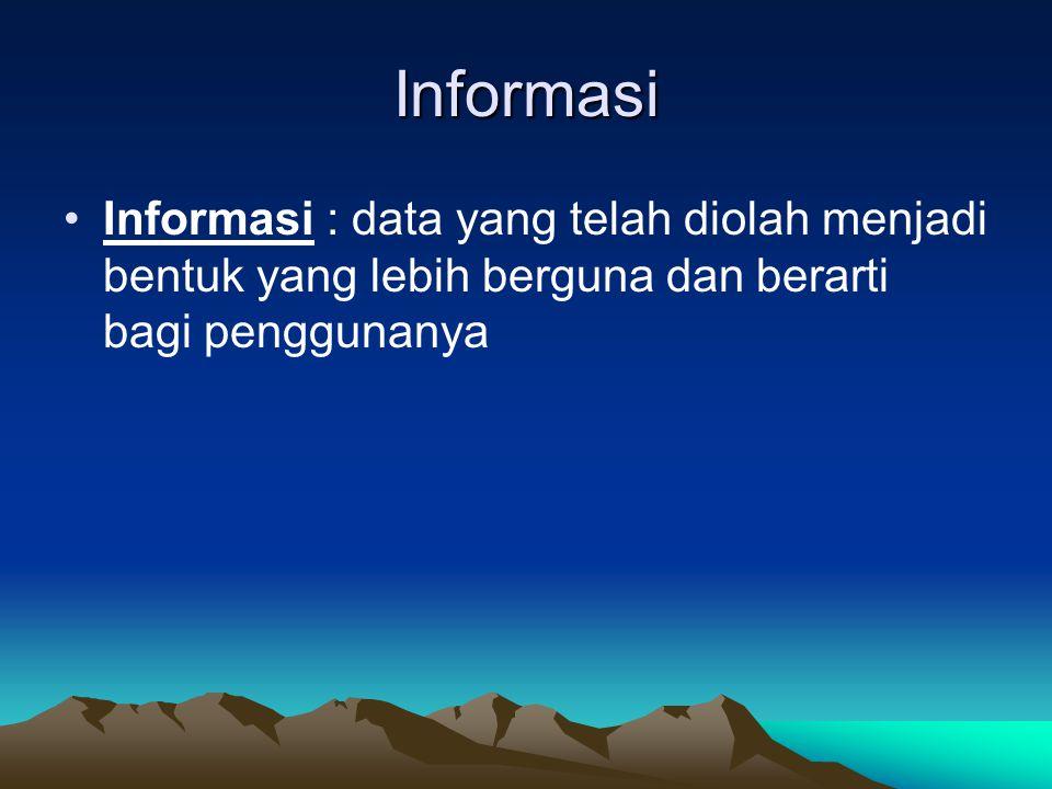 Informasi Informasi : data yang telah diolah menjadi bentuk yang lebih berguna dan berarti bagi penggunanya.