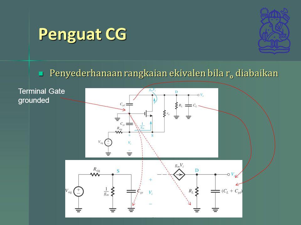 Penguat CG Penyederhanaan rangkaian ekivalen bila ro diabaikan