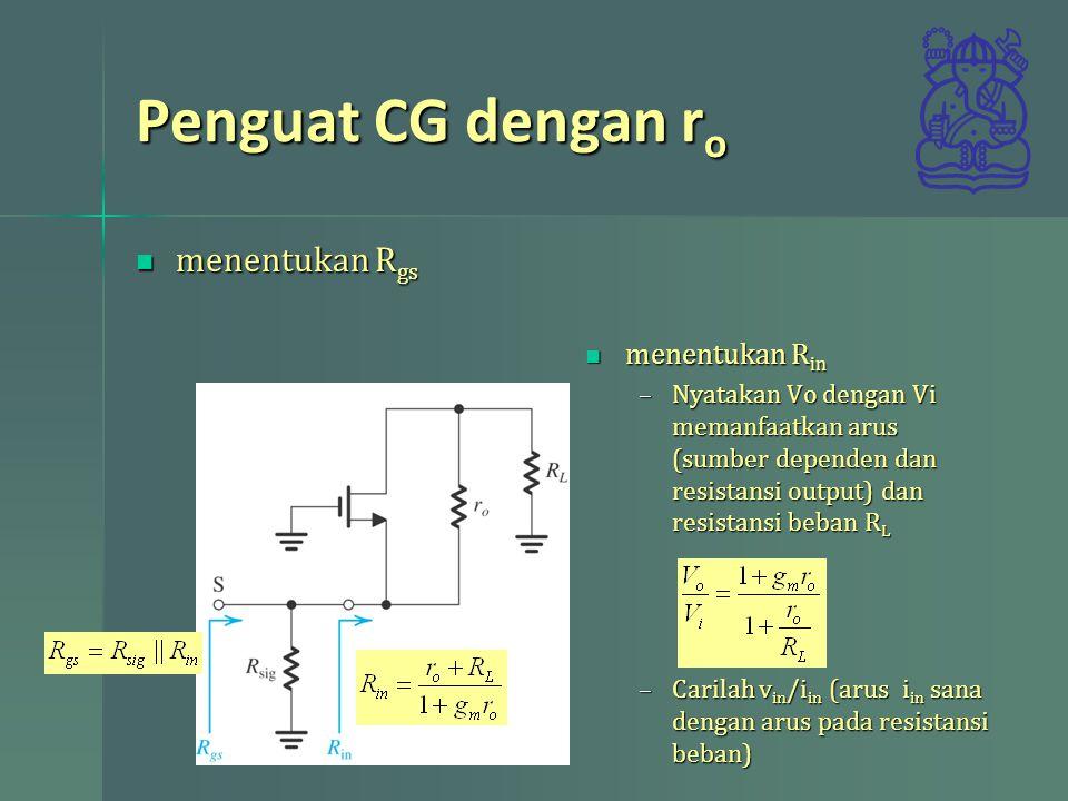 Penguat CG dengan ro menentukan Rgs menentukan Rin