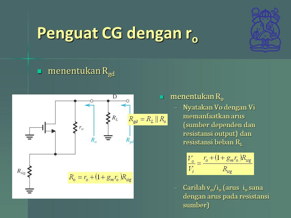 Penguat CG dengan ro menentukan Rgd menentukan Ro