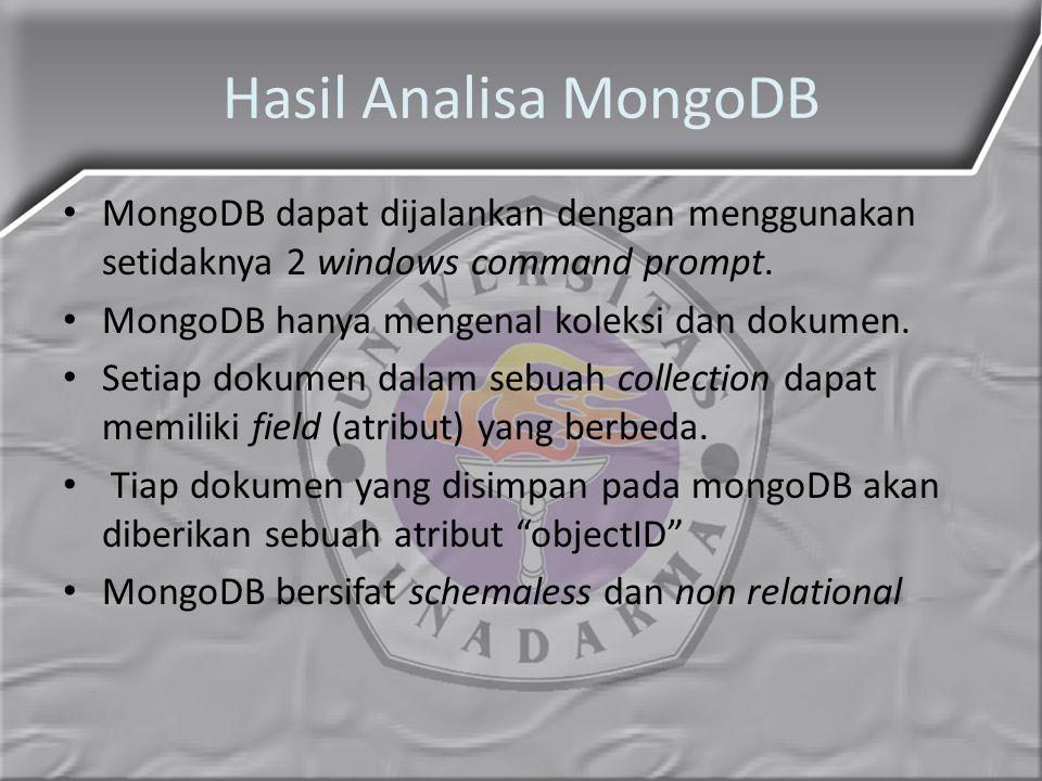 Hasil Analisa MongoDB MongoDB dapat dijalankan dengan menggunakan setidaknya 2 windows command prompt.