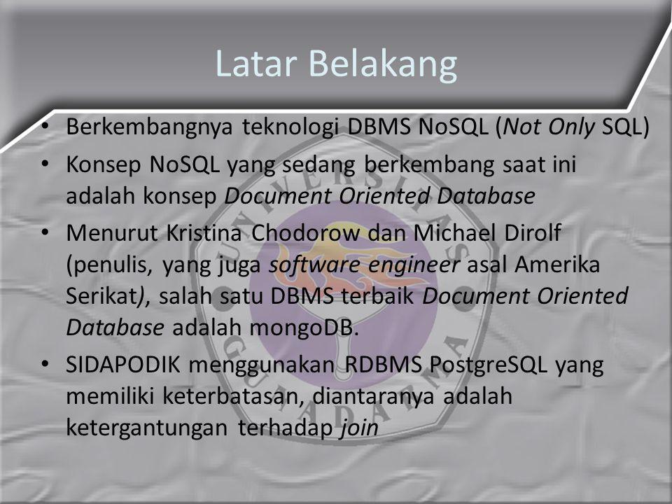 Latar Belakang Berkembangnya teknologi DBMS NoSQL (Not Only SQL)