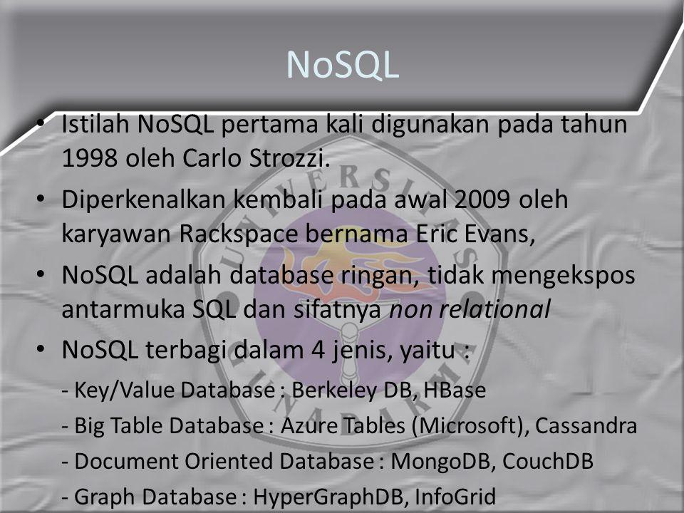 NoSQL Istilah NoSQL pertama kali digunakan pada tahun 1998 oleh Carlo Strozzi.