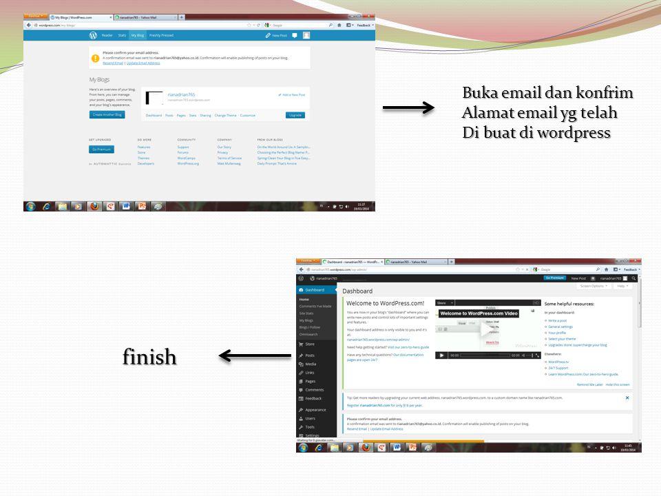 finish Buka email dan konfrim Alamat email yg telah