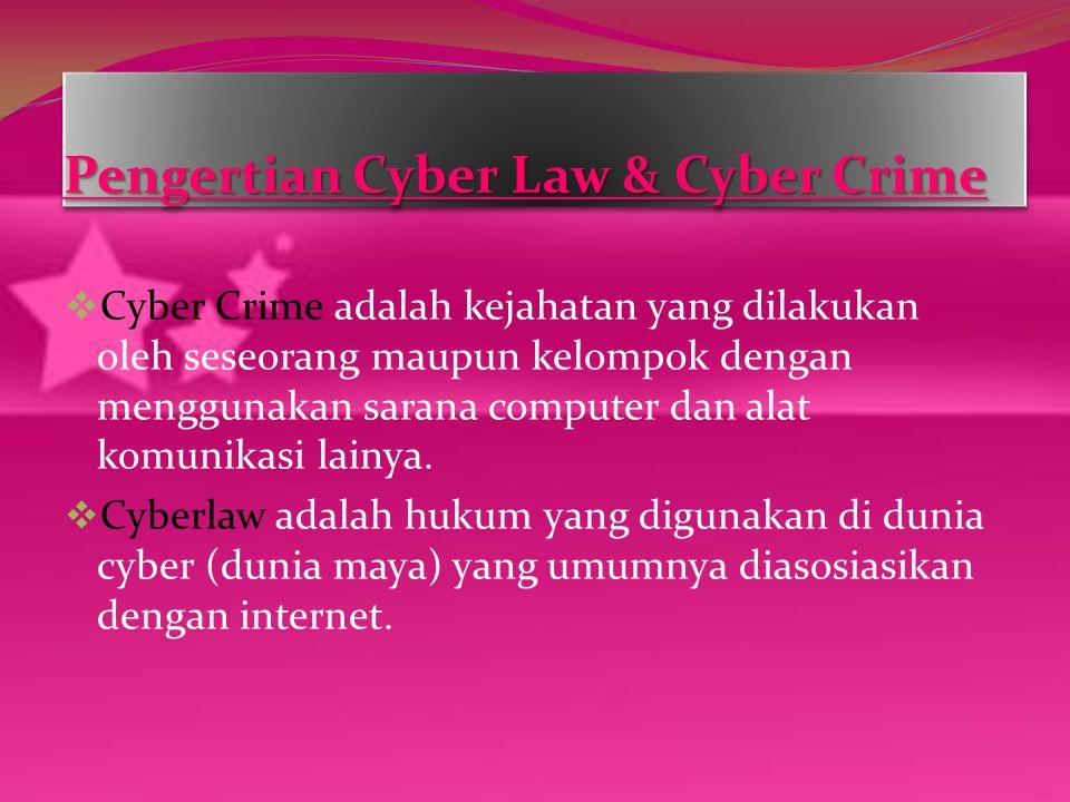 Pengertian Cyber Law & Cyber Crime