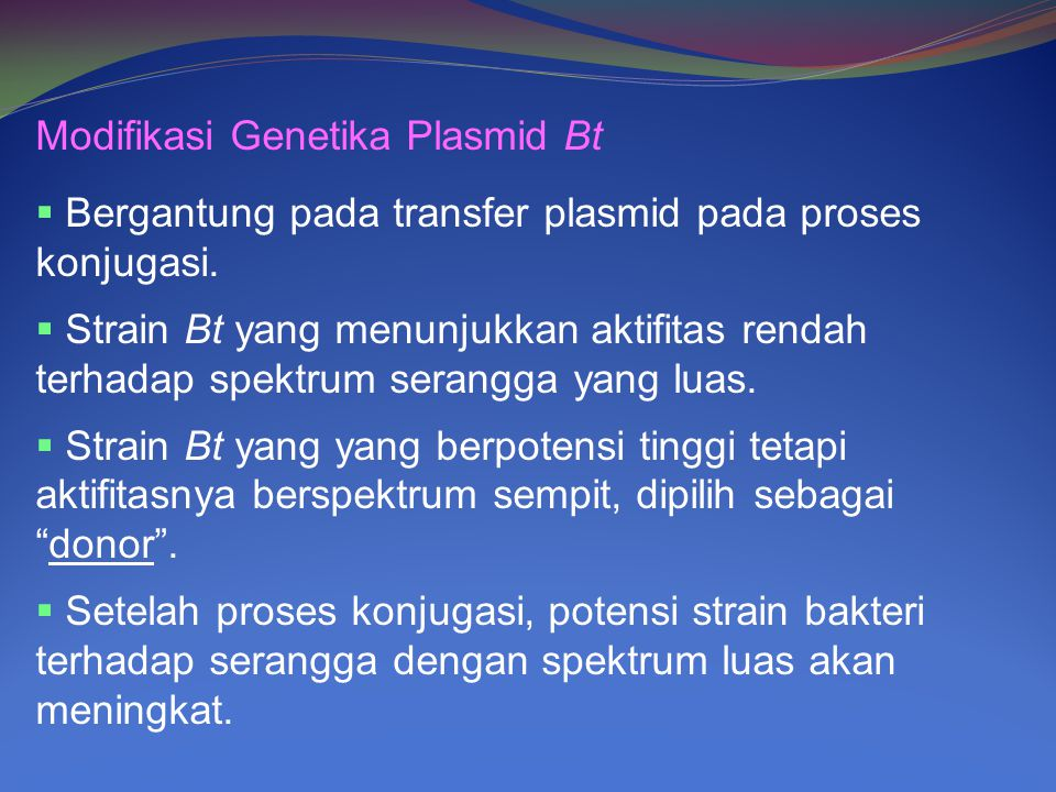 Modifikasi Genetika Plasmid Bt