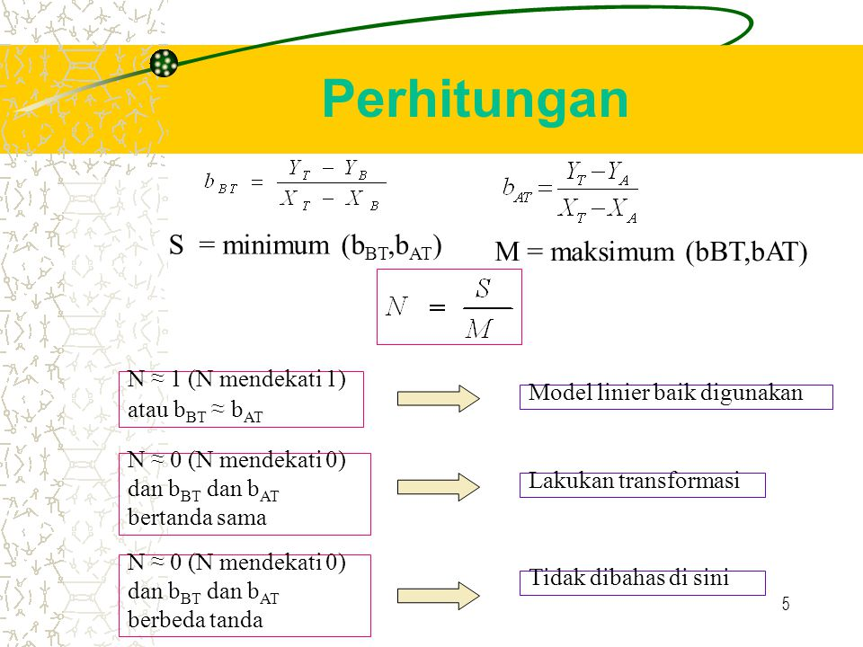Perhitungan S = minimum (bBT,bAT) M = maksimum (bBT,bAT)