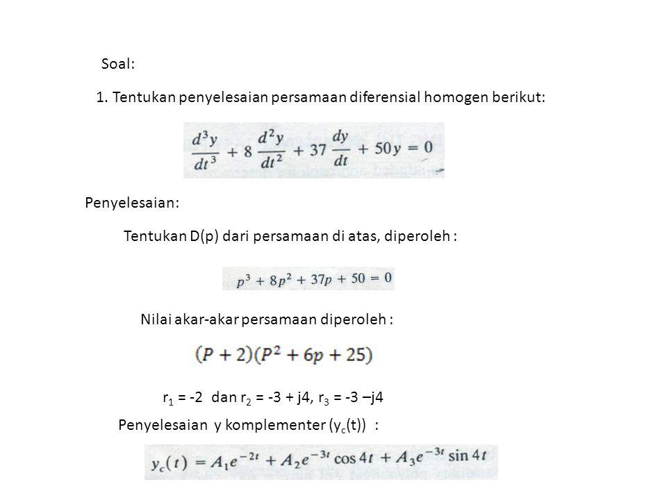 Soal: 1. Tentukan penyelesaian persamaan diferensial homogen berikut: Penyelesaian: Tentukan D(p) dari persamaan di atas, diperoleh :