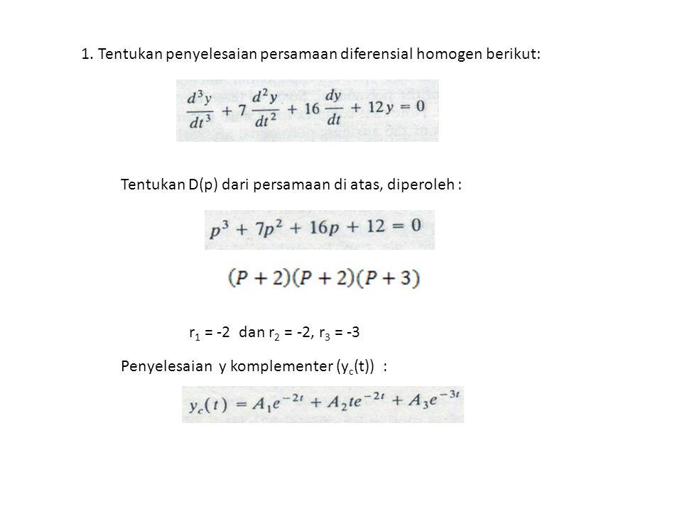 1. Tentukan penyelesaian persamaan diferensial homogen berikut: