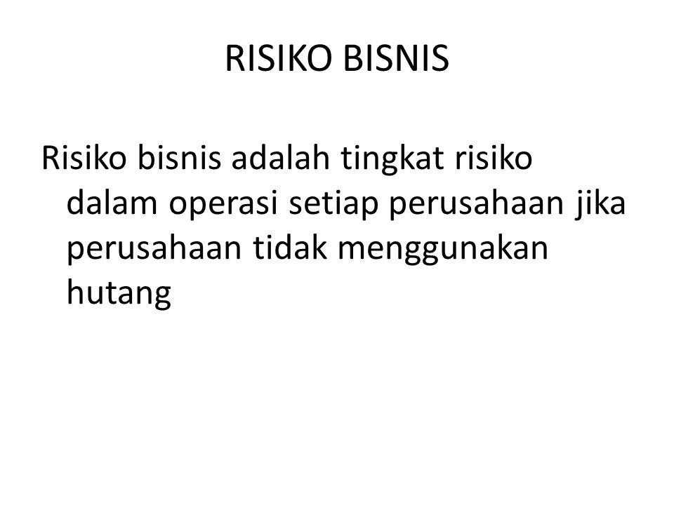 RISIKO BISNIS Risiko bisnis adalah tingkat risiko dalam operasi setiap perusahaan jika perusahaan tidak menggunakan hutang.