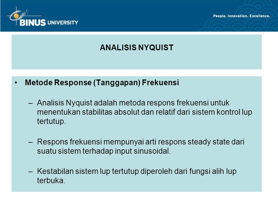 ANALISIS NYQUIST Metode Response (Tanggapan) Frekuensi.