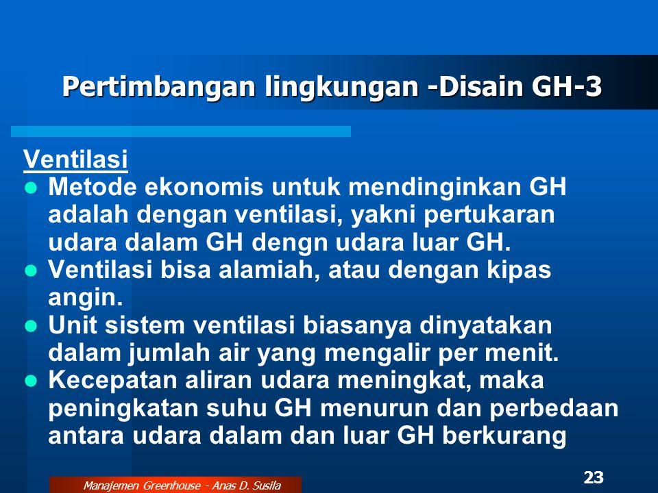 Pertimbangan lingkungan -Disain GH-3