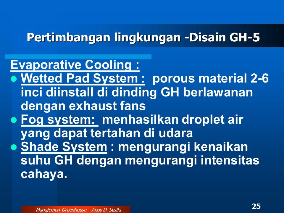 Pertimbangan lingkungan -Disain GH-5