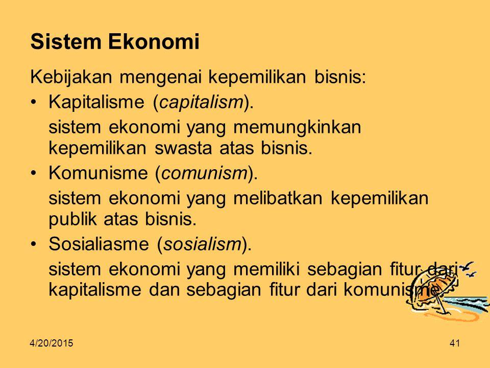 Sistem Ekonomi Kebijakan mengenai kepemilikan bisnis: