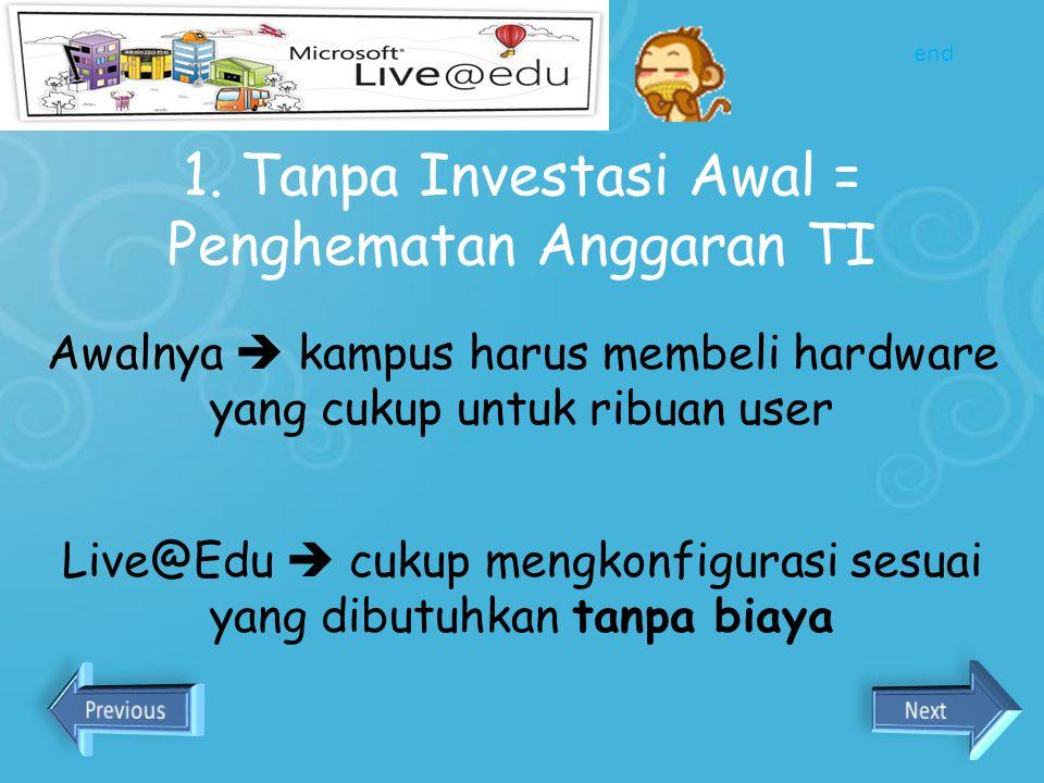 1. Tanpa Investasi Awal = Penghematan Anggaran TI