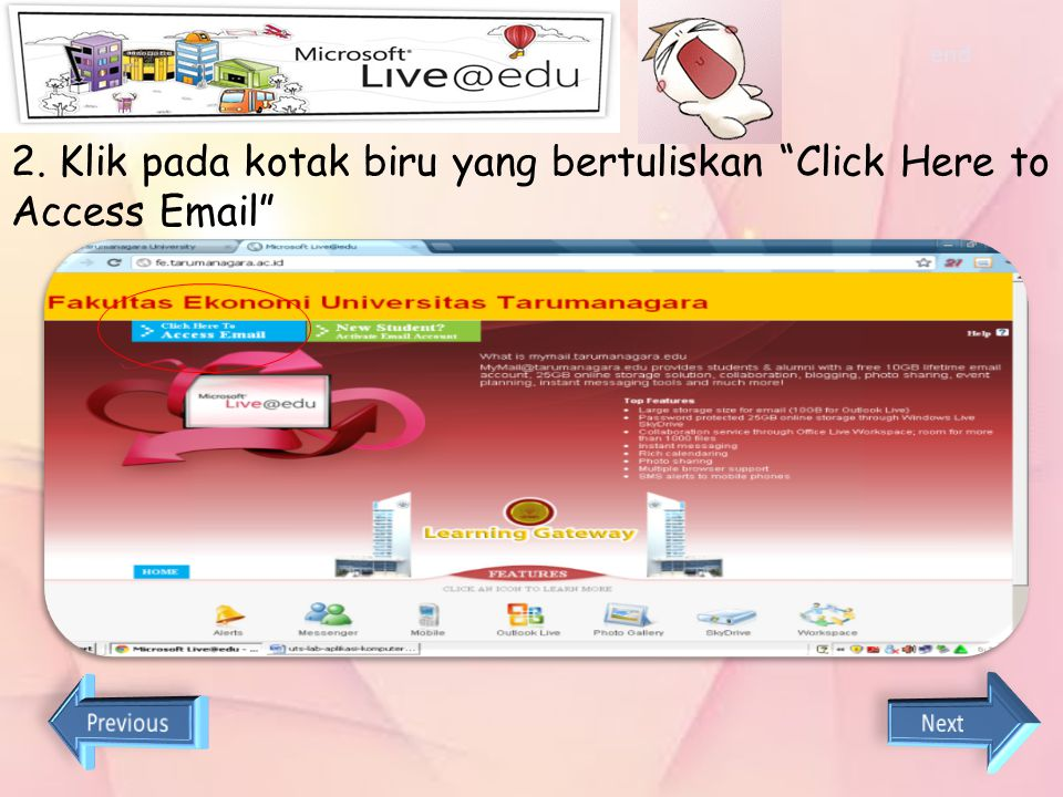 2. Klik pada kotak biru yang bertuliskan Click Here to Access Email