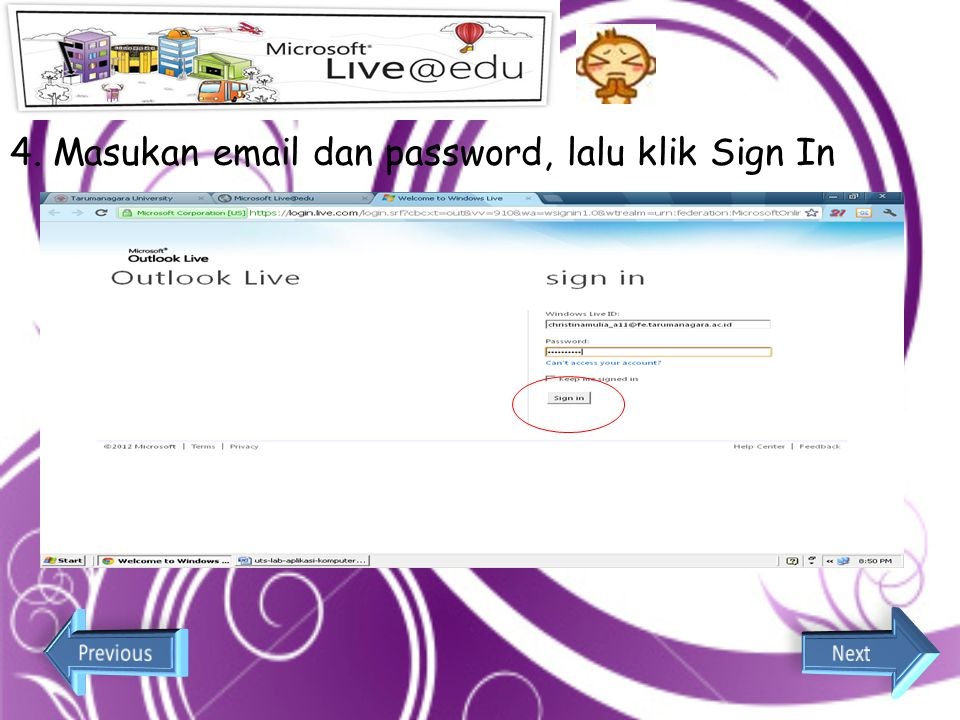 4. Masukan email dan password, lalu klik Sign In