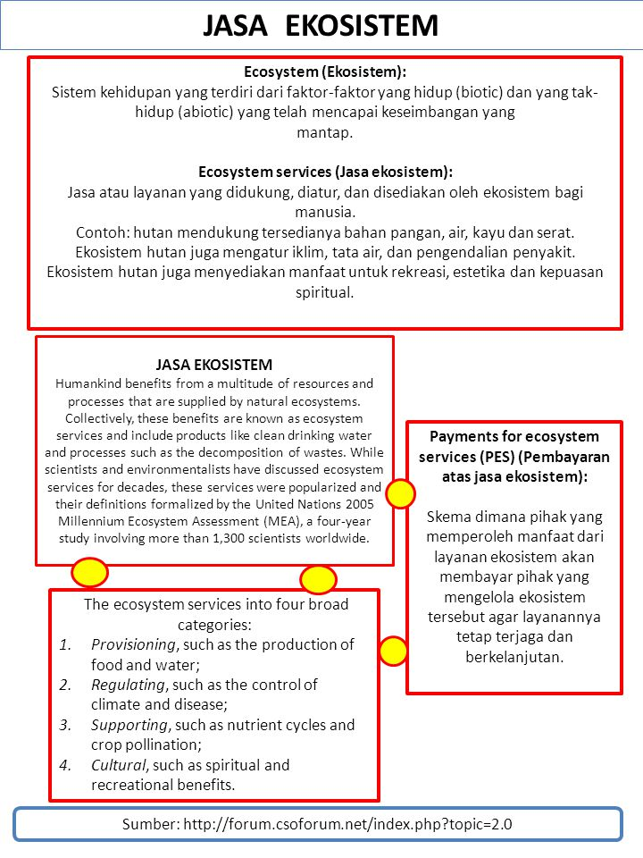 JASA EKOSISTEM Ecosystem (Ekosistem):