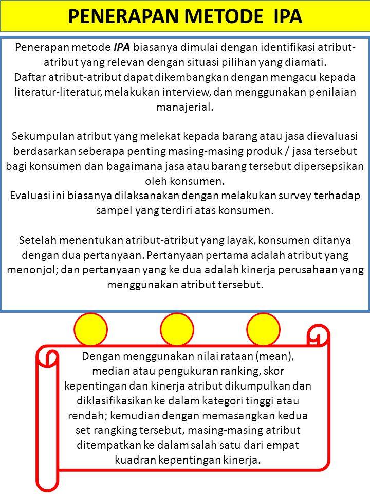 PENERAPAN METODE IPA Penerapan metode IPA biasanya dimulai dengan identifikasi atribut-atribut yang relevan dengan situasi pilihan yang diamati.