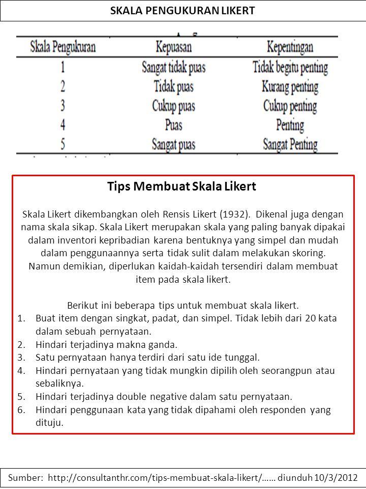 SKALA PENGUKURAN LIKERT Tips Membuat Skala Likert