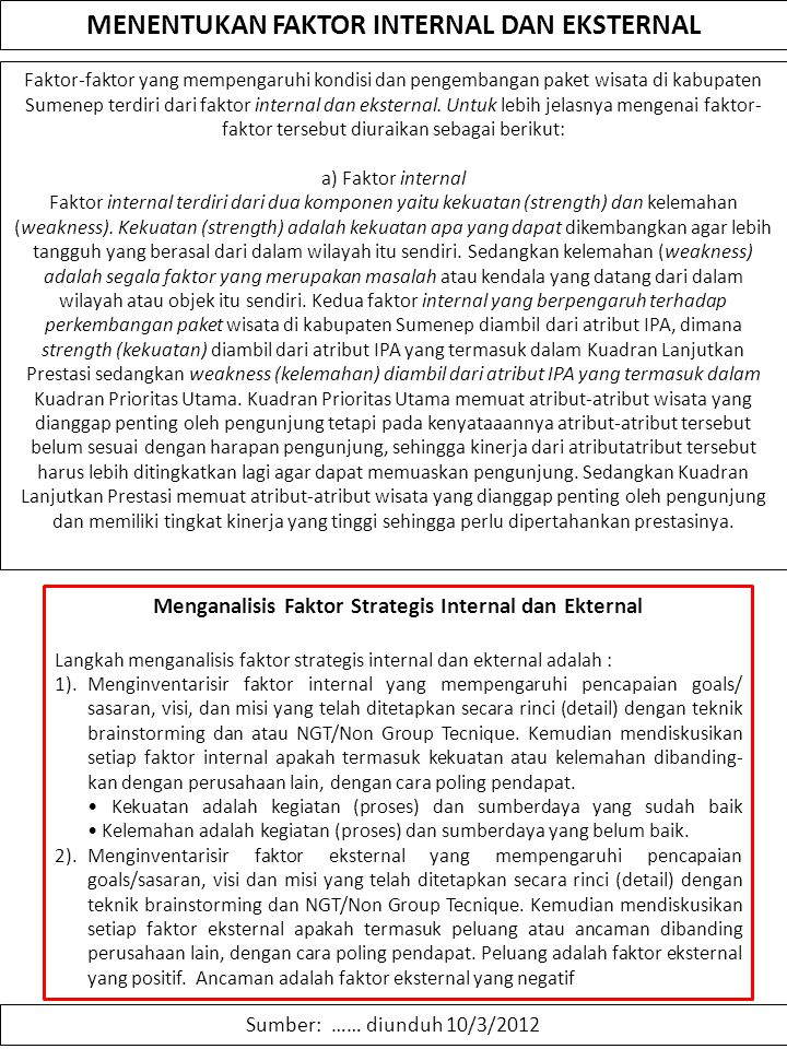 MENENTUKAN FAKTOR INTERNAL DAN EKSTERNAL