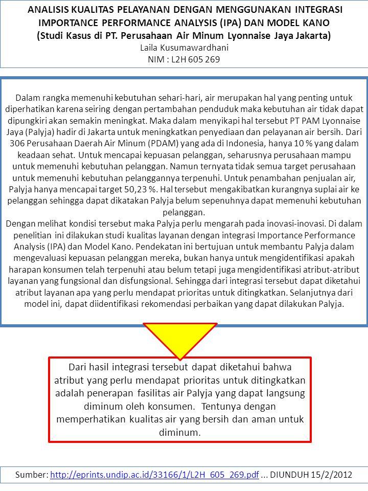 (Studi Kasus di PT. Perusahaan Air Minum Lyonnaise Jaya Jakarta)