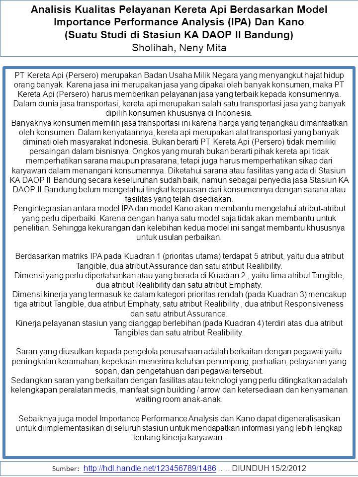 (Suatu Studi di Stasiun KA DAOP II Bandung)