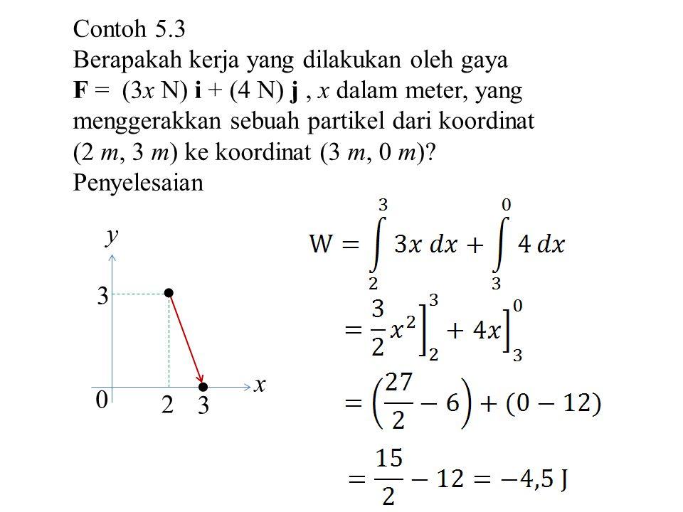 y x  2 3 Contoh 5.3 Berapakah kerja yang dilakukan oleh gaya