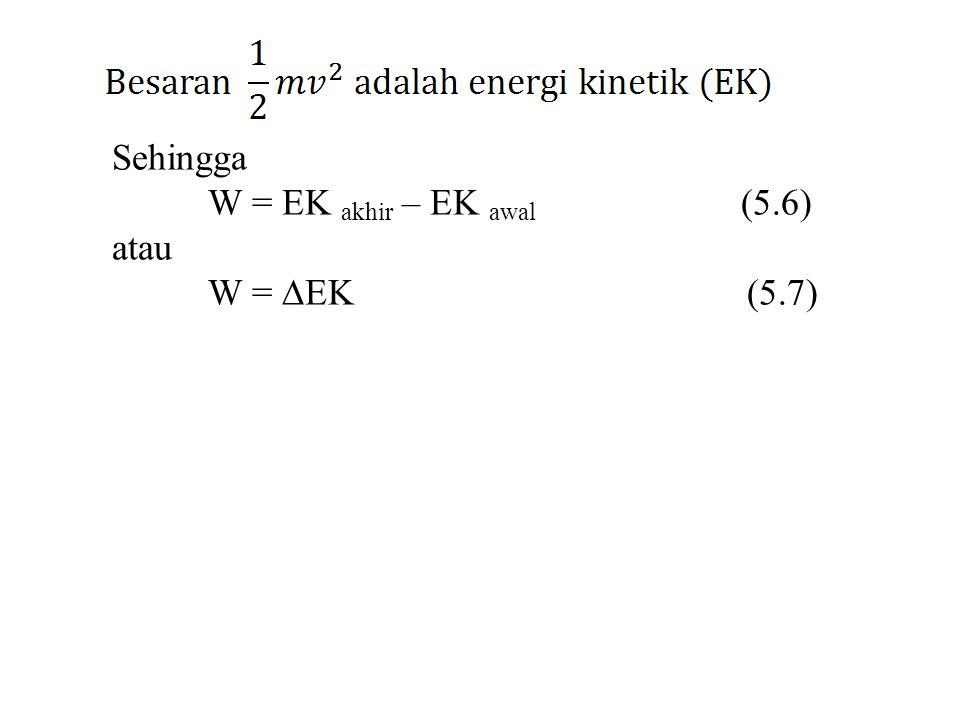Sehingga W = EK akhir – EK awal (5.6) atau.