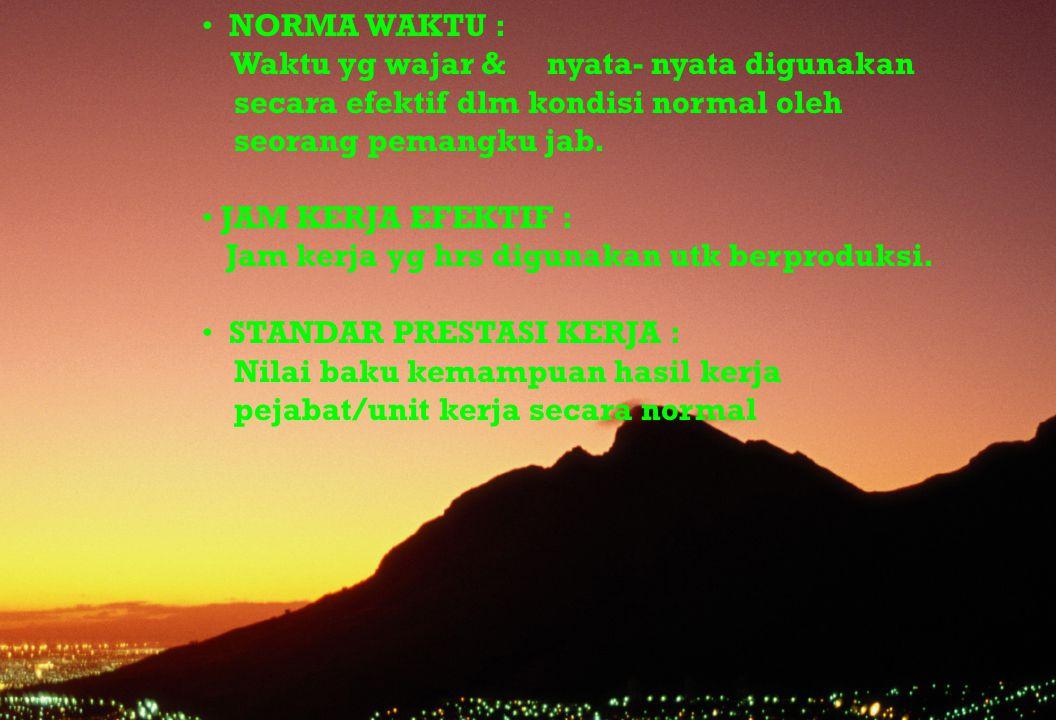 NORMA WAKTU : Waktu yg wajar & nyata- nyata digunakan. secara efektif dlm kondisi normal oleh.