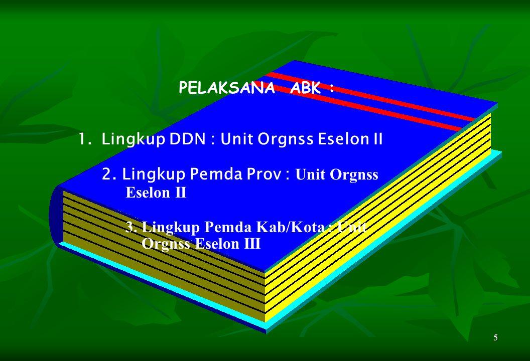 PELAKSANA ABK : Lingkup DDN : Unit Orgnss Eselon II. 2. Lingkup Pemda Prov : Unit Orgnss. Eselon II.