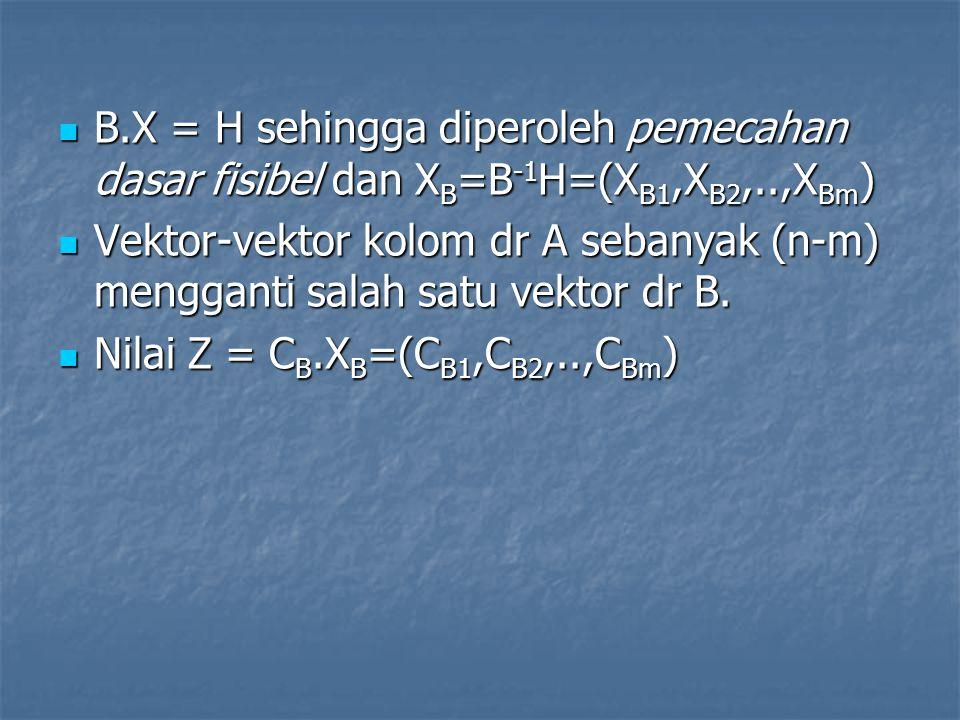 B.X = H sehingga diperoleh pemecahan dasar fisibel dan XB=B-1H=(XB1,XB2,..,XBm)