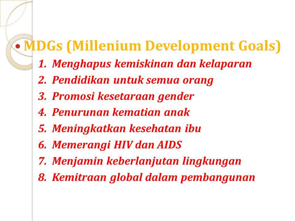MDGs (Millenium Development Goals)