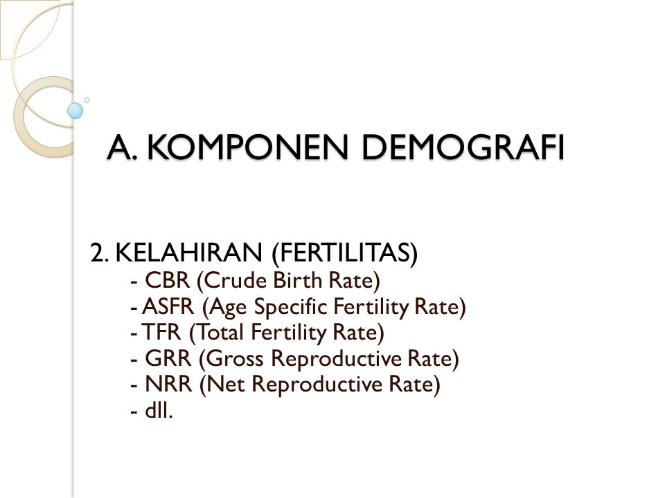 A. KOMPONEN DEMOGRAFI 2. KELAHIRAN (FERTILITAS)