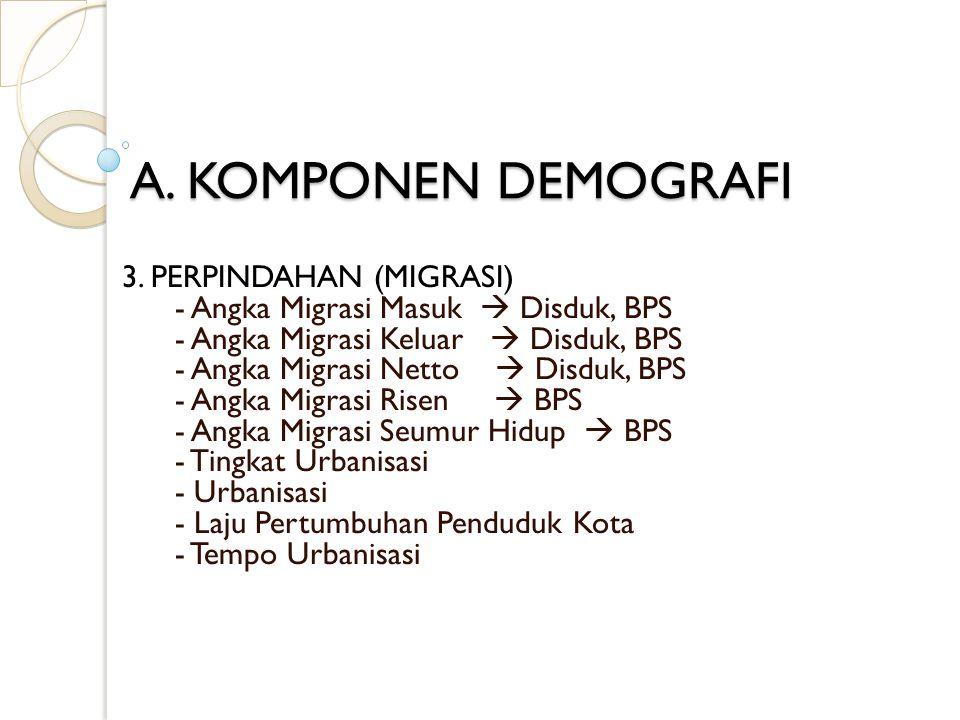 A. KOMPONEN DEMOGRAFI 3. PERPINDAHAN (MIGRASI)
