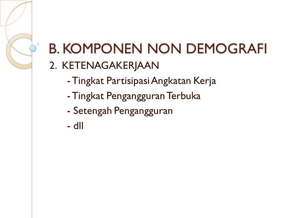 B. KOMPONEN NON DEMOGRAFI