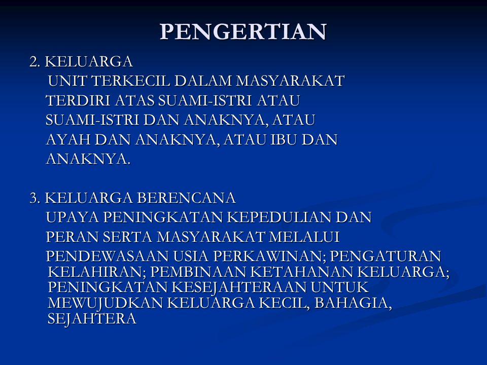 PENGERTIAN 2. KELUARGA UNIT TERKECIL DALAM MASYARAKAT