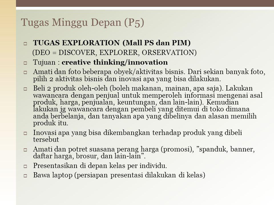 Tugas Minggu Depan (P5) TUGAS EXPLORATION (Mall PS dan PIM)